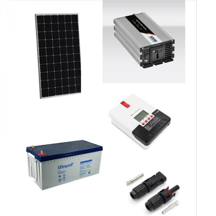 600W Off-Grid Photovoltaic Kit + 1000W Inverter-big