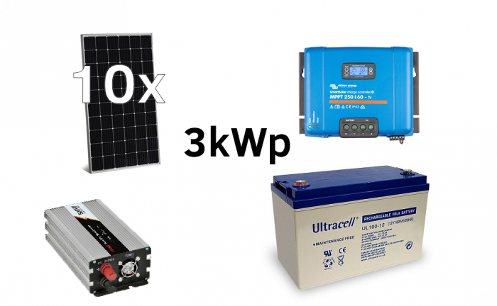 Off-grid photovoltaic system 3000Wp 220V Poweracu-big