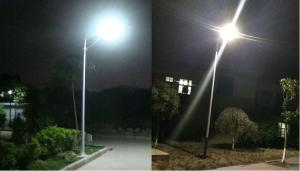 PowerSave street lighting system with 70Wp photovoltaic panel, included battery and 30W LED4