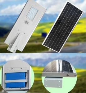 PowerSave street-side street lighting with Sunpower 86Wp photovoltaic panel, included battery and LED 60W3