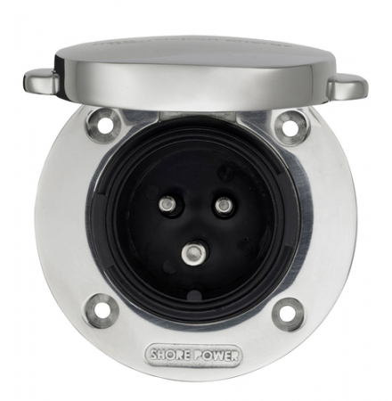 Power Inlet stainless with cover 16A/250Vac (2p/3w)0