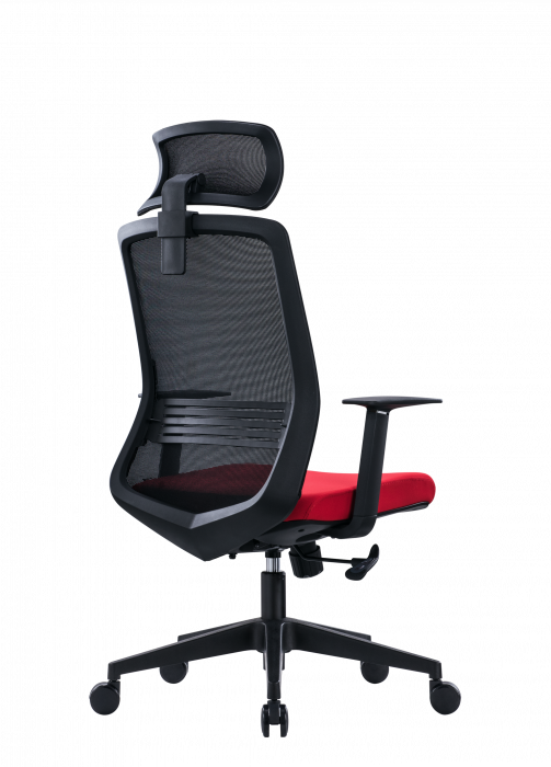 Scaun de birou ergonomic SeatTech Wave, Negru/Rosu [2]