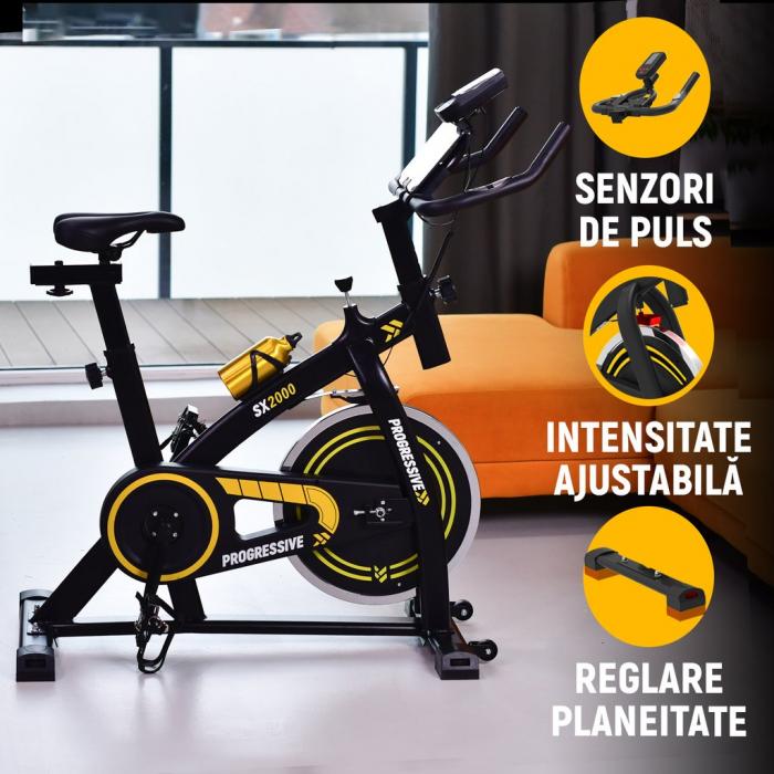 Bicicleta fitness Progressive SX2000, + 6 luni Kinomap gratis [3]