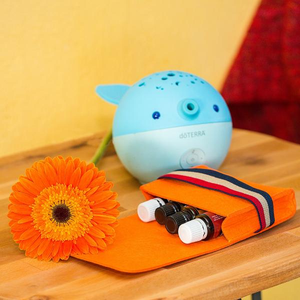 Mini geanta din fetru pentru pastrarea uleiurilor esentiale, portocalie, CuteBag 0