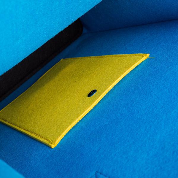 Geanta din fetru galben-bleu cu buzunare CuteBag 1