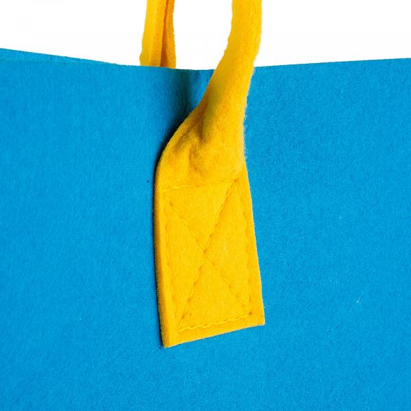 Geanta din fetru galben-bleu cu buzunare CuteBag 2