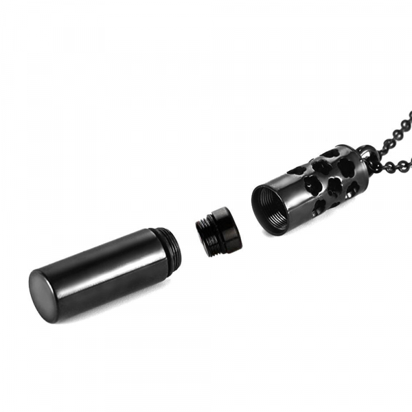 Colier tip sticla de parfum negru 40 mm pentru uleiuri esentiale ZaZa! 2