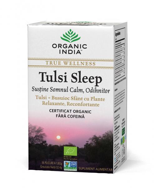Ceai Tulsi Sleep cu Plante Relaxante, Reconfortante | Somn Calm, Odihnitor, plicuri - Organic India 0