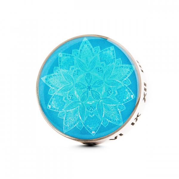 Difuzor auto 3 cm pentru uleiuri esentiale argintiu ZaZa- model Blue Flower, geometrie sacra din inox 0