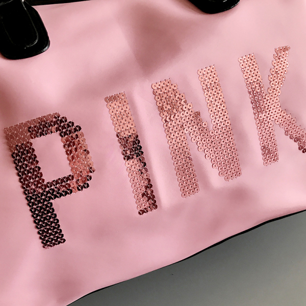 Geanta sport pentru plaja, roz cu negru Pink rezistenta la apa! 2