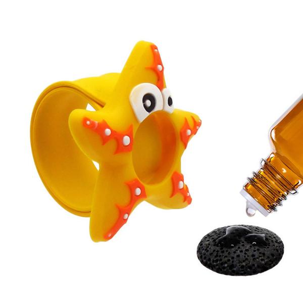 Bratara din silicon pentru aromaterapie tip slap-band cu model peste, insert lava stone, portocalie, Naturall! 1