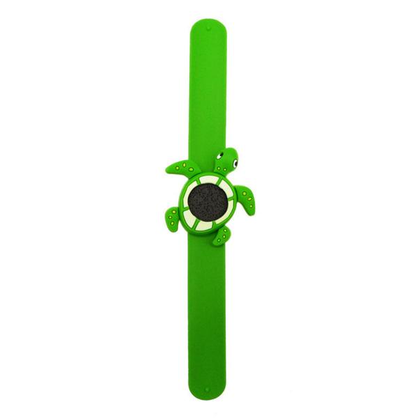 Bratara din silicon pentru aromaterapie tip slap-band cu model broasca-testoasa, insert lava stone, verde, Naturall! 2