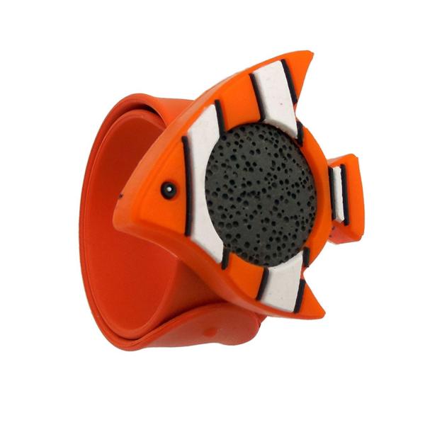 Bratara din silicon pentru aromaterapie tip slap-band cu model peste, insert lava stone, portocalie, Naturall! 0