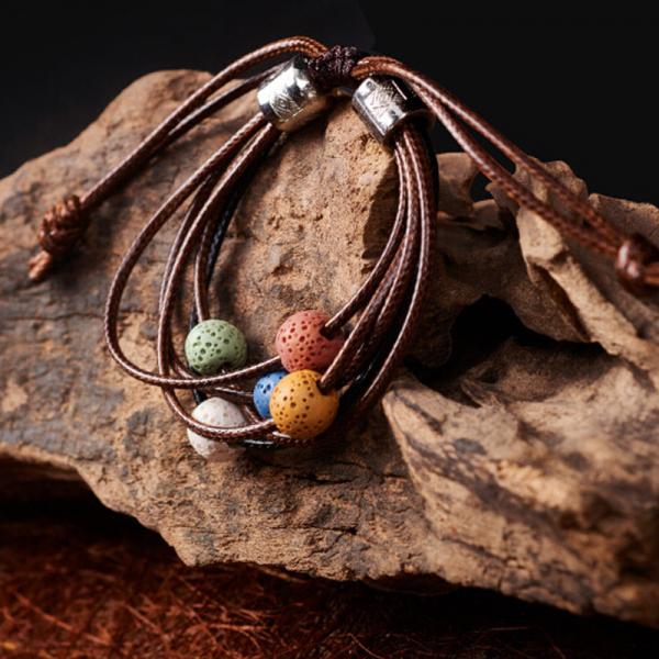 Bratara lava stone multicolorata cu piele ecologica, reglabila, pentru uleiuri esentiale Naturall 0