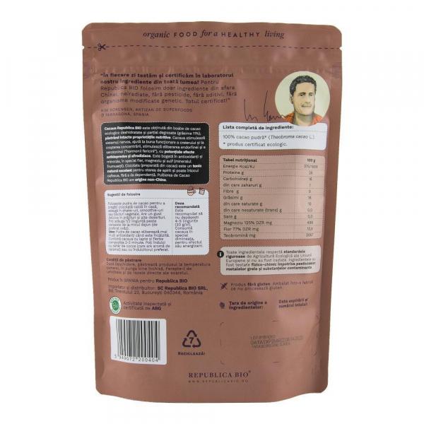 Cacao, pulbere ecologica pura Republica BIO - 200 g 1