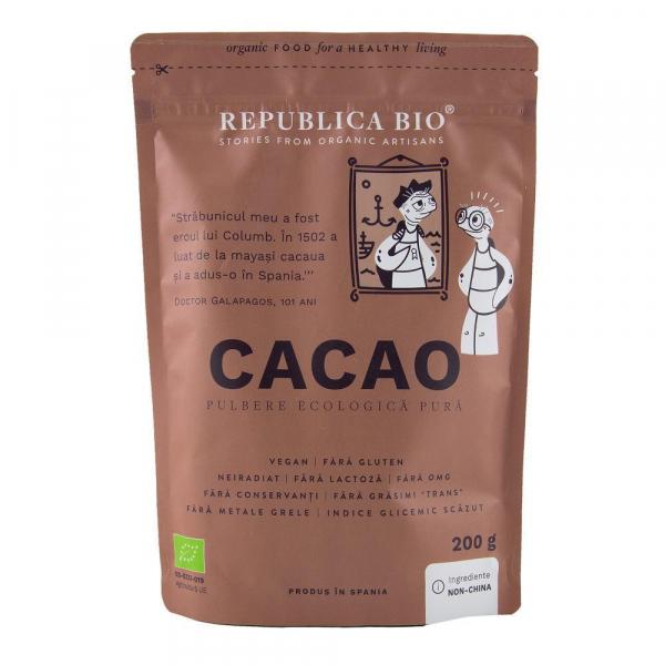 Cacao, pulbere ecologica pura Republica BIO - 200 g 0