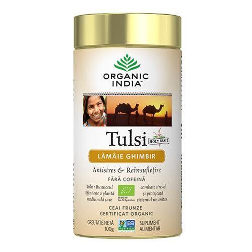 Ceai Tulsi (Busuioc Sfant) cu Lamaie si Ghimbir | Antistres Natural & Reinsufletire, cutie 100g Organic India 0