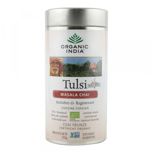 Ceai Tulsi (Busuioc Sfant) Masala Chai 100g Organic India - Antistres & Regenerant 0