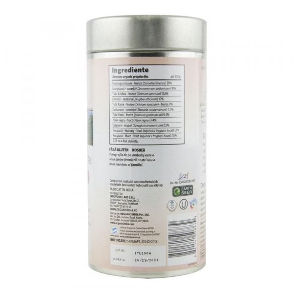 Ceai Tulsi (Busuioc Sfant) Masala Chai 100g Organic India - Antistres & Regenerant 1