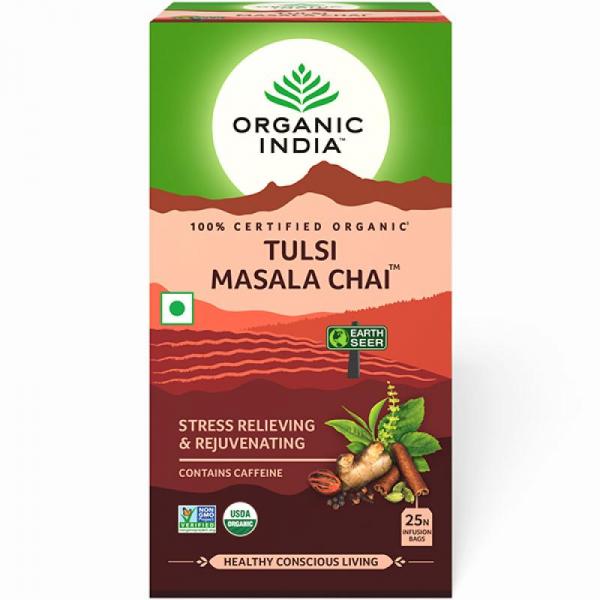 Ceai Tulsi (Busuioc Sfant) Masala Chai 25 plicuri Organic India - Antistres & Regenerant 0