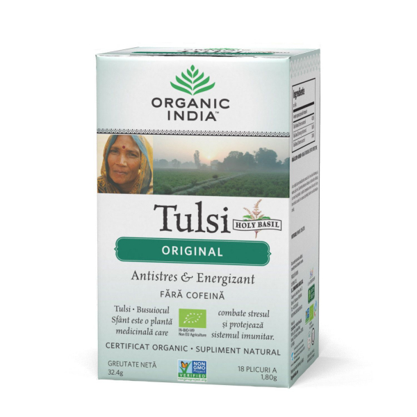 Ceai Tulsi (Busuioc Sfant) Original | Antistres Natural & Energizant, plicuri Organic India