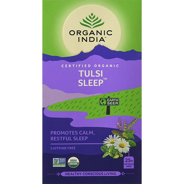 Ceai Tulsi Sleep cu Plante Relaxante, Reconfortante | Somn Calm, Odihnitor, 25 plicuri Organic India 0