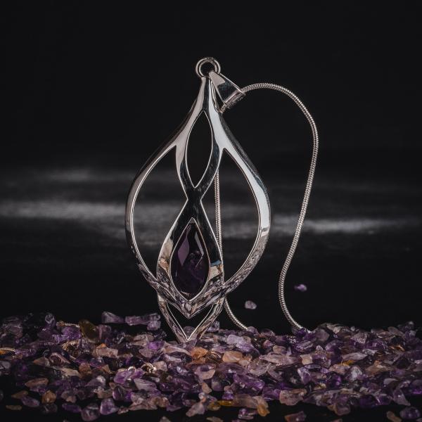 Colier si lant din inox, suflate cu argint Infinity Amethyst by ZaZa 1