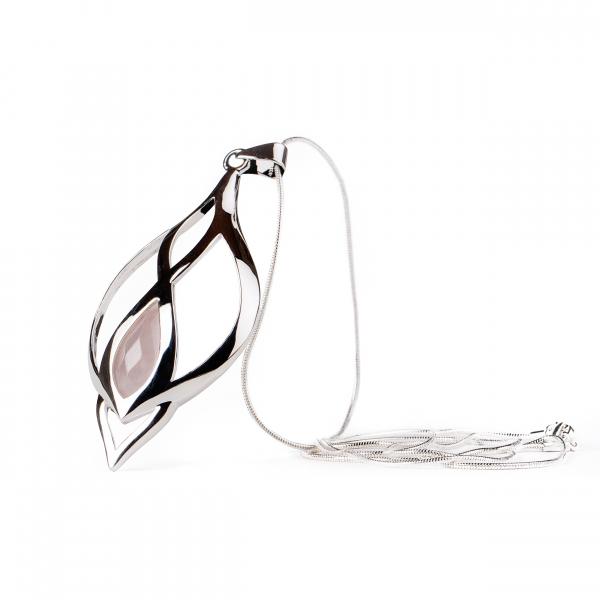 Colier si lant din inox, suflate cu argint Infinity Quartz by ZaZa 1