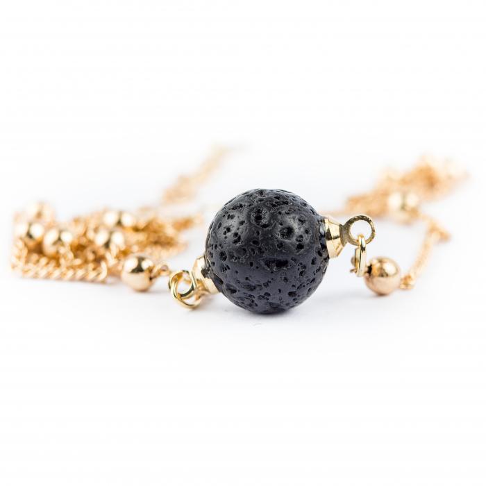 Bratara Zaza pentru uleiuri esentiale cu lava stone, placat cu aur de 18K [2]