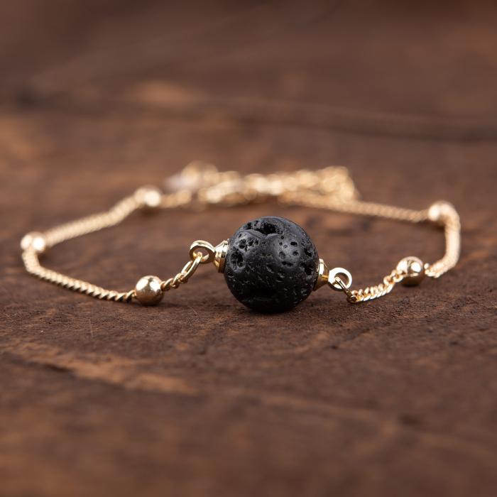 Bratara Zaza pentru uleiuri esentiale cu lava stone, placat cu aur de 18K [1]