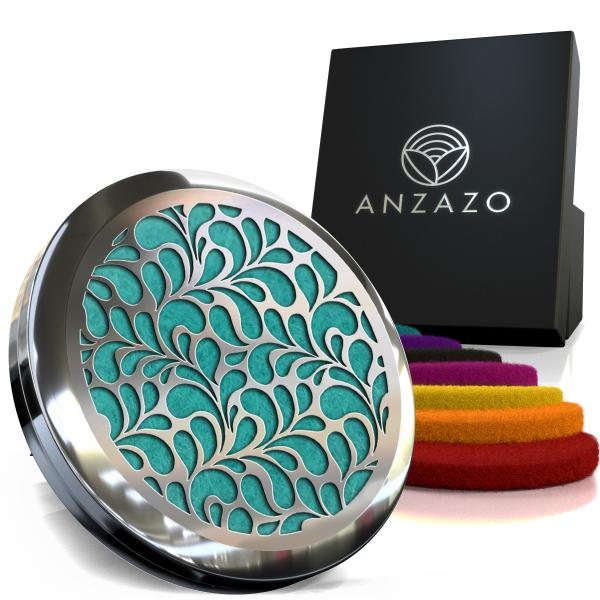 Difuzor aromaterapie auto 3.8 cm argintiu, ANZAZO -  geometrie sacra din inox 2