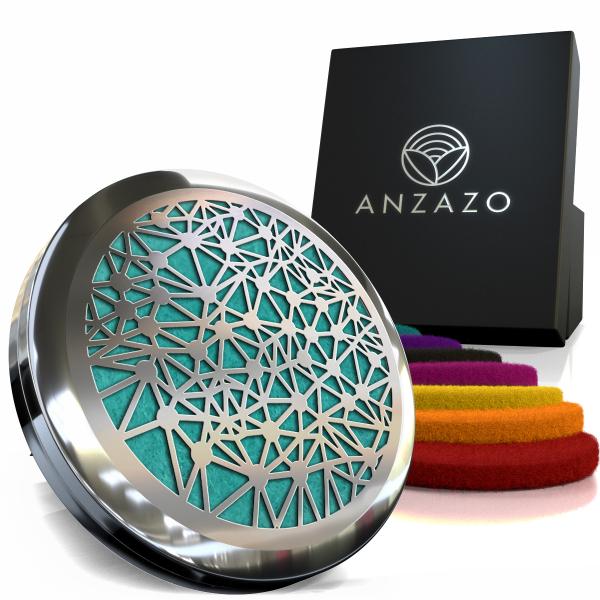 Difuzor aromaterapie auto 3.8 cm argintiu, ANZAZO -  geometrie sacra din inox 1