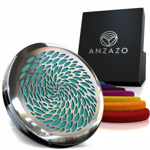 Difuzor aromaterapie auto 3.8 cm argintiu, ANZAZO -  geometrie sacra din inox 3