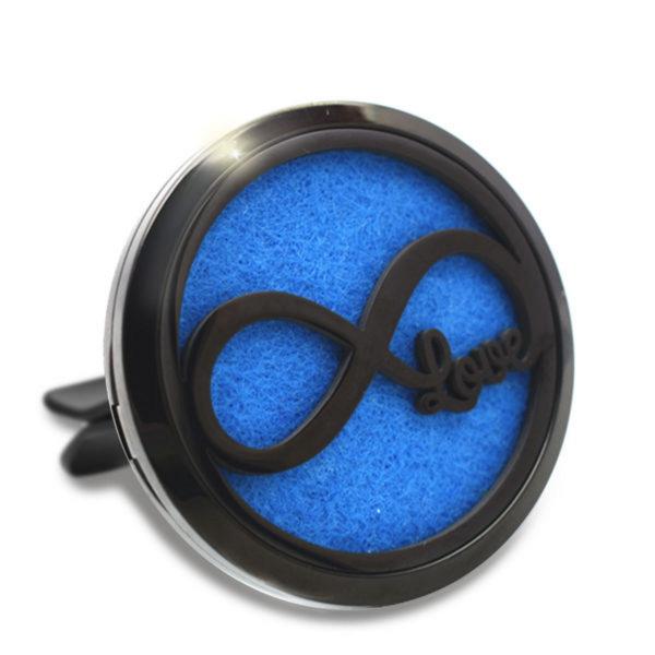 Difuzor auto 3.8 cm pentru uleiuri esentiale negru Naturall - model Infinity Love, geometrie sacra din inox 1
