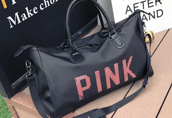 Geanta sport pentru plaja, roz cu negru Pink rezistenta la apa! 8