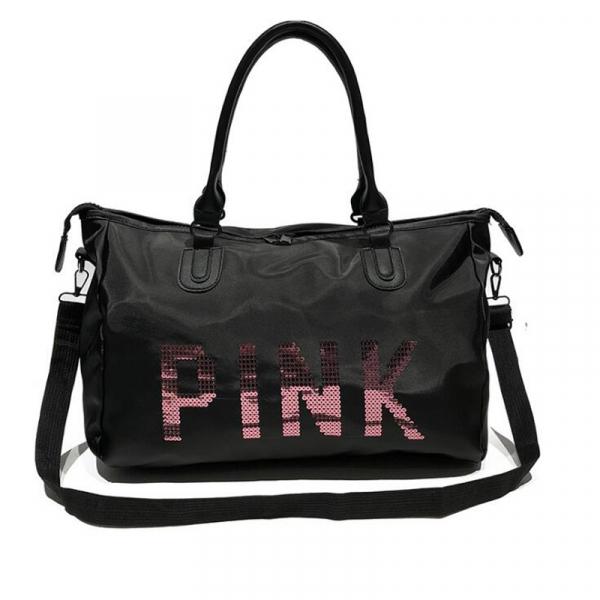 Geanta sport pentru plaja, roz cu negru Pink rezistenta la apa! 3