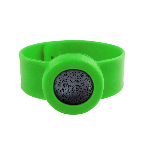 Bratara pentru uleiuri esentiale tip slap-band cu lava stone, Naturall verde