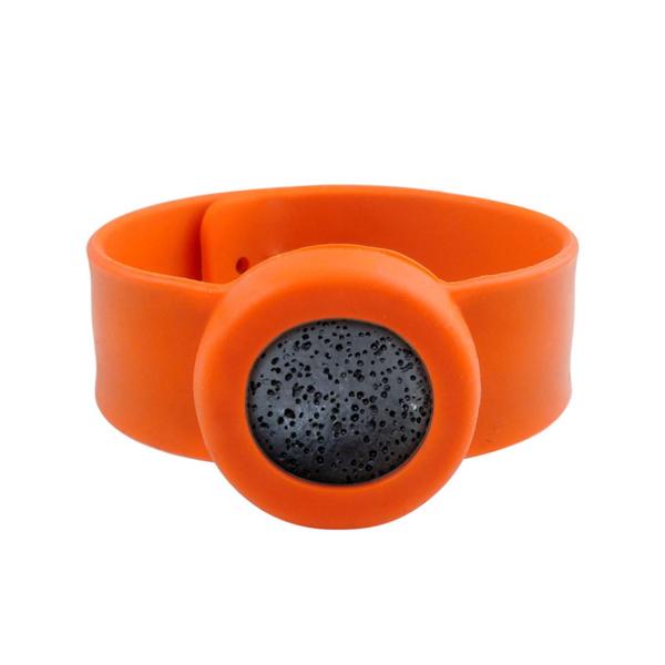 Bratara pentru uleiuri esentiale tip slap-band cu lava stone, Naturall portocaliu