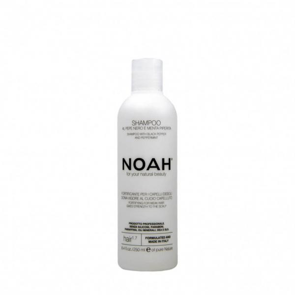 Sampon fortifiant cu piper negru si menta pentru par slabit si deteriorat (1.7), Noah, 250 ml [0]