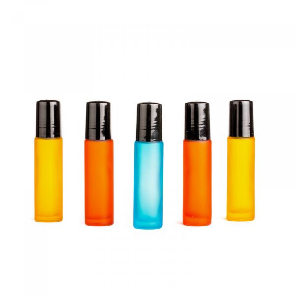 Set 5 sticle colorate de 10 ml frosted glass in culorile albastru, rosu si galben ZaZa 0