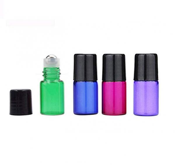 Set 8 buc sticle colorate cu roll-on, capacitate 2 ml pentru uleiuri esentiale