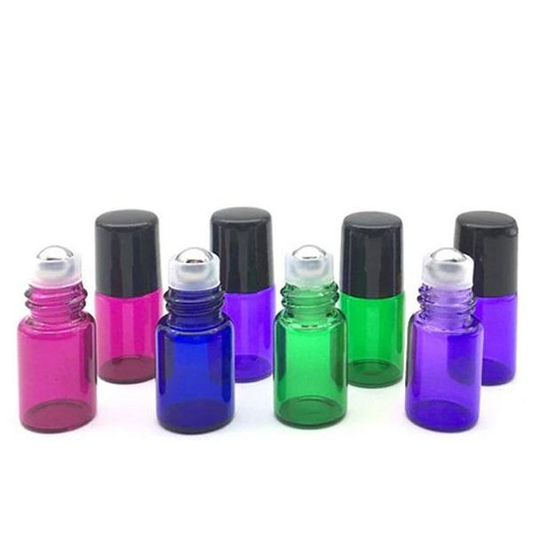 Set 8 buc sticle colorate cu roll-on, capacitate 2 ml pentru uleiuri esentiale 0