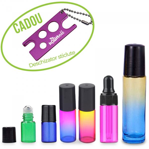 Set mix 6 sticle colorate pentru uleiuri esentiale! + GRATUIT un desfacator de sticle 0