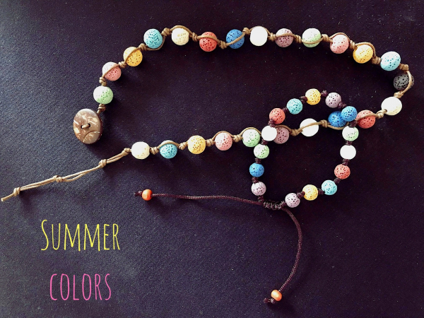 Set summer colors colier si bratara lava stone! 0