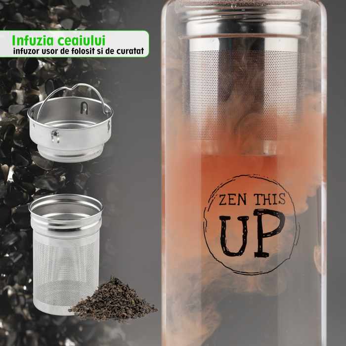 Sticla Cristale Naturale Black Obsidian cu Capac Inox, ZenThisUp, 500 ml, pentru apa, ceai, sucuri, Infuzor Inox, Husa Protectie cu Maner [5]