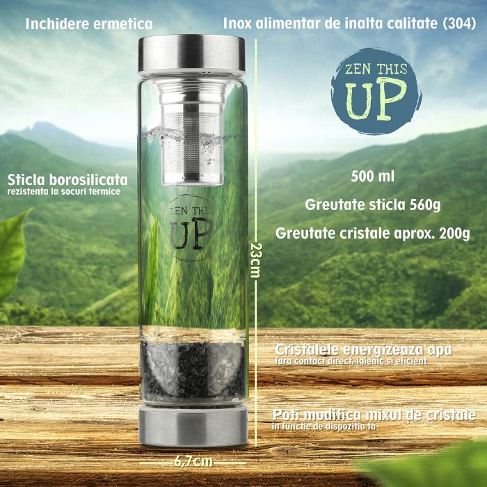 Sticla Cristale Naturale Black Obsidian cu Capac Inox, ZenThisUp, 500 ml, pentru apa, ceai, sucuri, Infuzor Inox, Husa Protectie cu Maner [6]