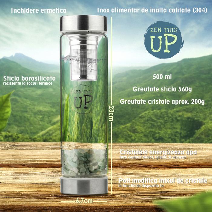 Sticla Cristale Naturale Green Aventurine cu Capac Inox, ZenThisUp, 500 ml, pentru apa, ceai, sucuri, Infuzor Inox, Husa Protectie cu Maner [6]