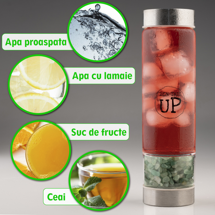 Sticla Cristale Naturale Green Aventurine cu Capac Inox, ZenThisUp, 500 ml, pentru apa, ceai, sucuri, Infuzor Inox, Husa Protectie cu Maner [4]