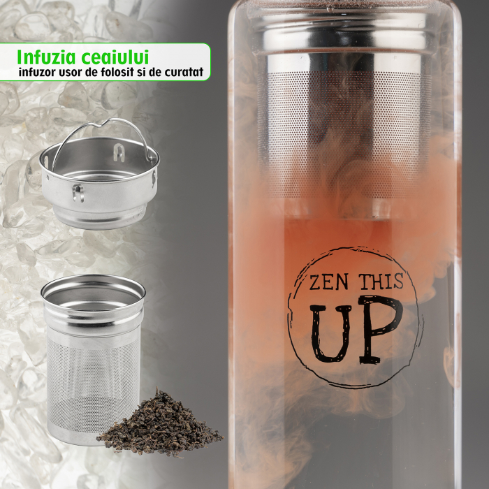 Sticla Cristale Naturale Quartz Alb cu Capac Inox, ZenThisUp, 500 ml, pentru apa, ceai, sucuri, Infuzor Inox, Husa Protectie cu Maner [5]