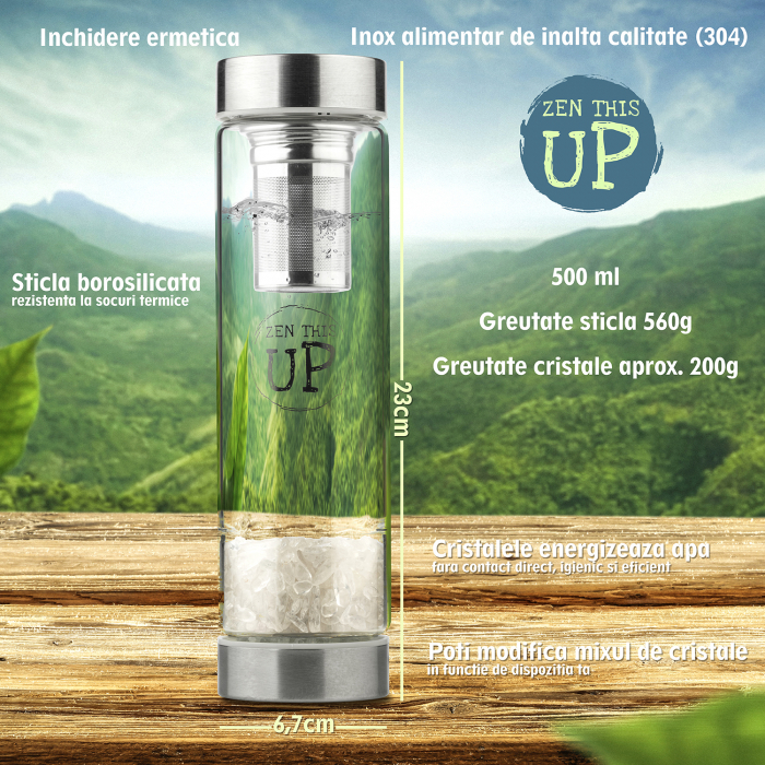 Sticla Cristale Naturale Quartz Alb cu Capac Inox, ZenThisUp, 500 ml, pentru apa, ceai, sucuri, Infuzor Inox, Husa Protectie cu Maner [6]